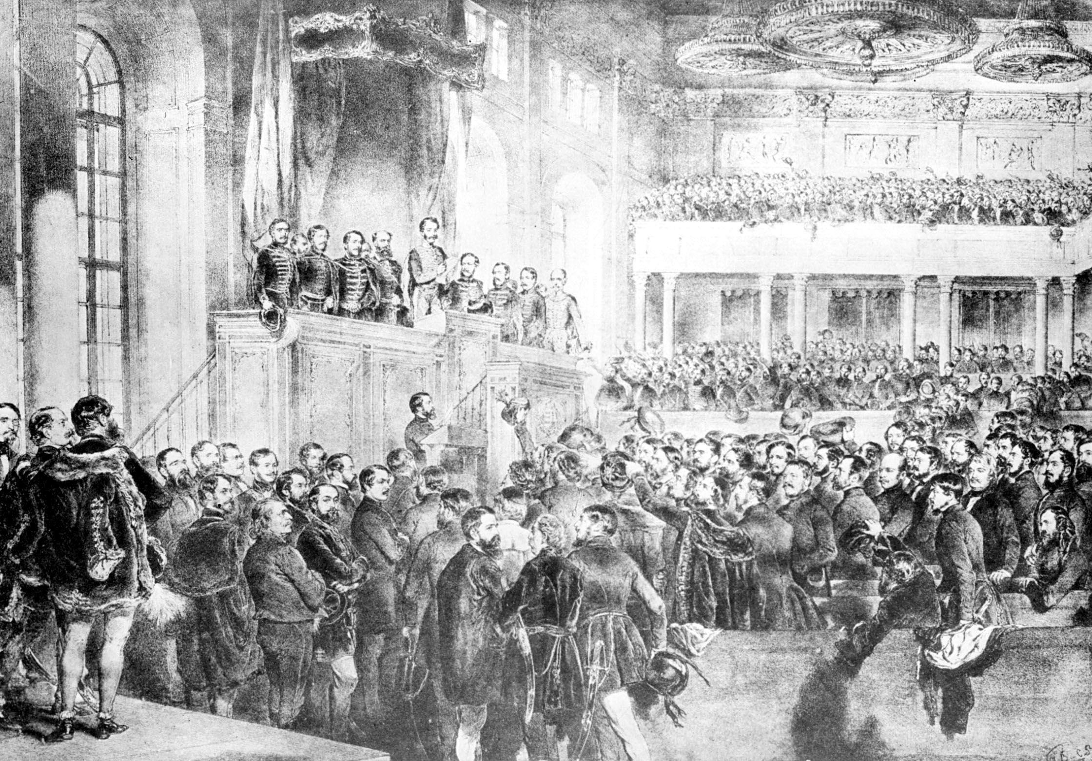 A képen: az 1848-as országgyűlés megnyitása - korabeli metszet. Az első népképviseleti országgyűlés 1848. július 5-én ült össze.